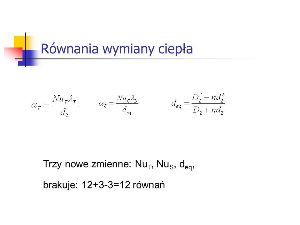 Równania wymiany ciepła Trzy nowe zmienne: Nu T, Nu S, d eq, brakuje: 12+3-3=12 równań