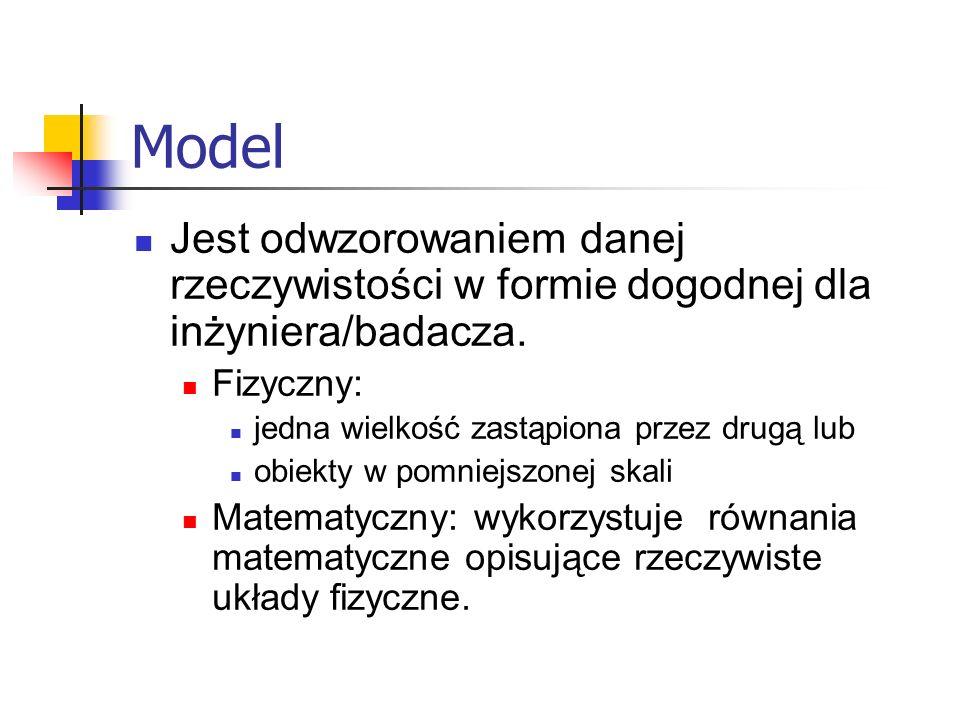 Model Jest odwzorowaniem danej rzeczywistości w formie dogodnej dla inżyniera/badacza. Fizyczny: jedna wielkość zastąpiona przez drugą lub obiekty w p
