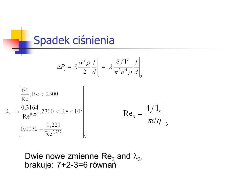 Spadek ciśnienia Dwie nowe zmienne Re 3 and 3, brakuje: 7+2-3=6 równań