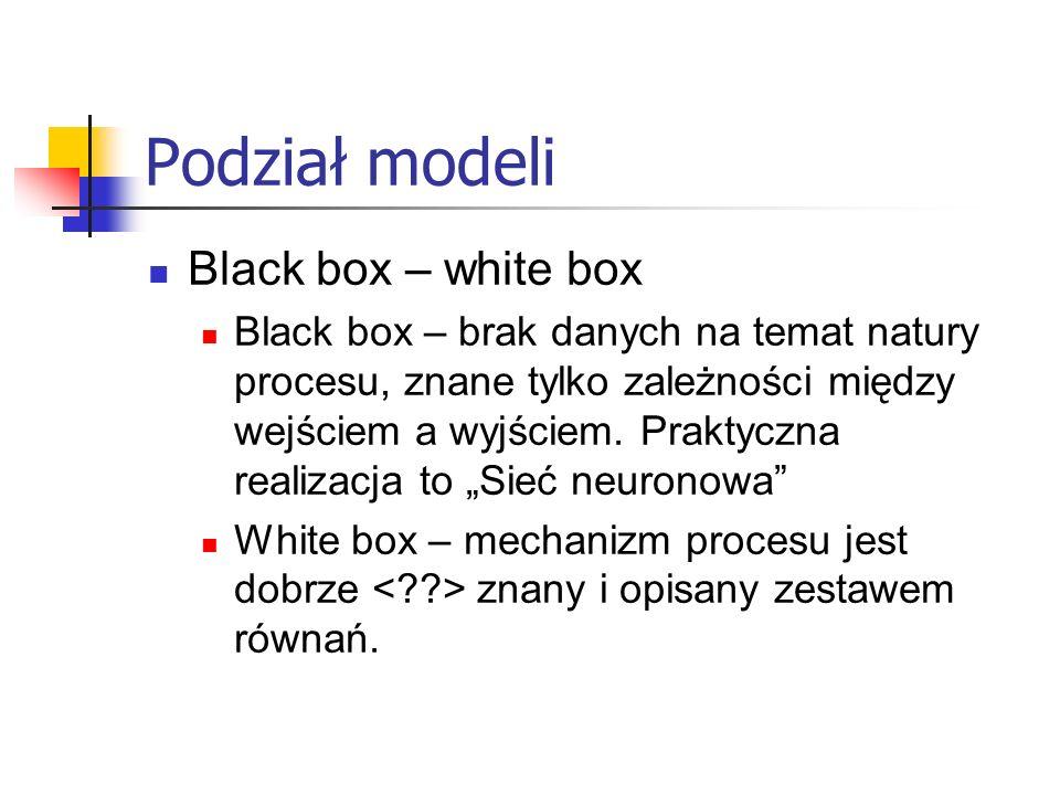 Podział modeli Black box – white box Black box – brak danych na temat natury procesu, znane tylko zależności między wejściem a wyjściem. Praktyczna re