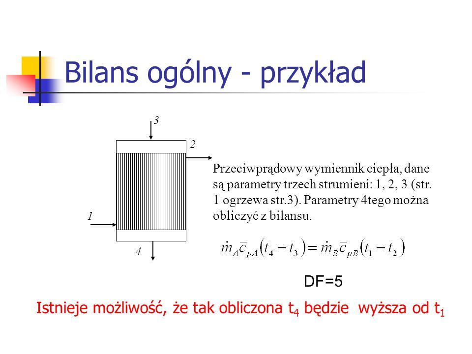 Bilans ogólny - przykład Przeciwprądowy wymiennik ciepła, dane są parametry trzech strumieni: 1, 2, 3 (str. 1 ogrzewa str.3). Parametry 4tego można ob