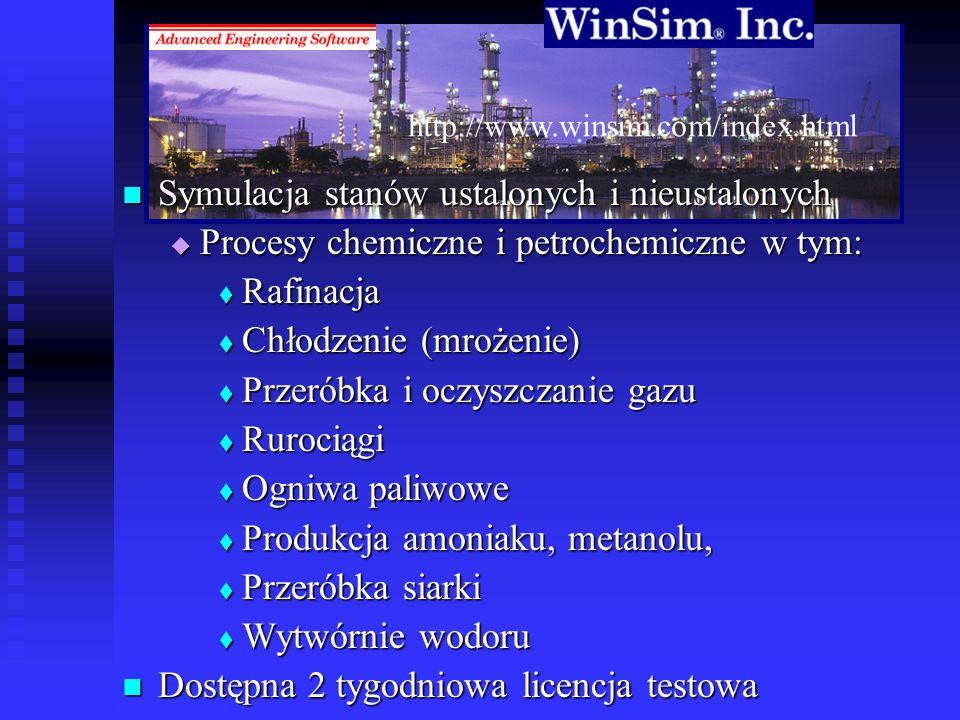 http://www.winsim.com/index.html Symulacja stanów ustalonych i nieustalonych Symulacja stanów ustalonych i nieustalonych Procesy chemiczne i petrochem