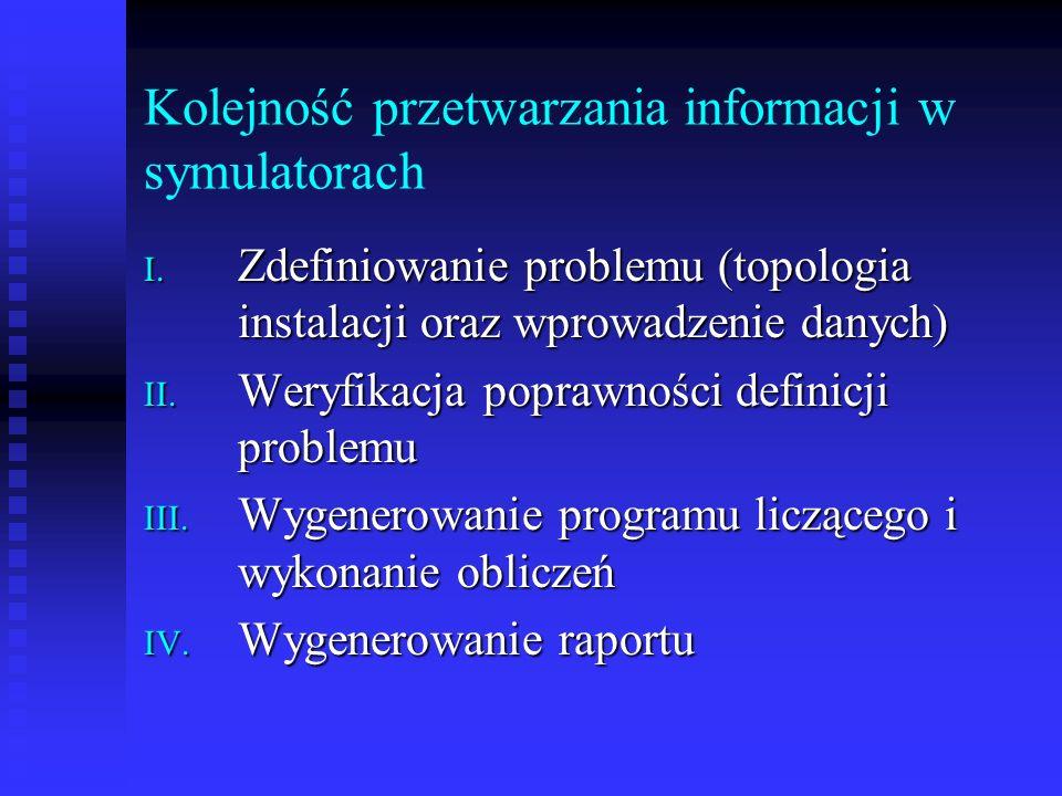 Kolejność przetwarzania informacji w symulatorach I. Zdefiniowanie problemu (topologia instalacji oraz wprowadzenie danych) II. Weryfikacja poprawnośc