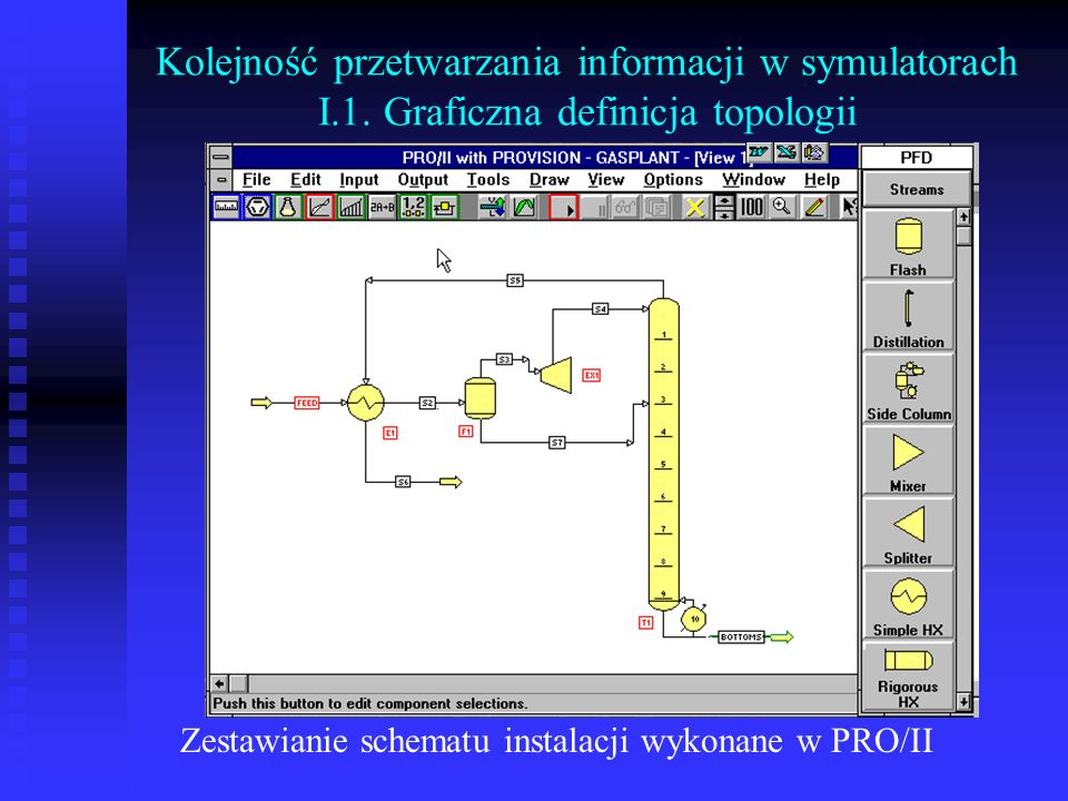 Kolejność przetwarzania informacji w symulatorach I.1. Graficzna definicja topologii Zestawianie schematu instalacji wykonane w PRO/II