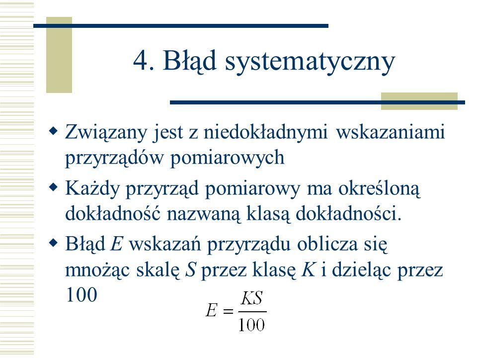 Związany jest z niedokładnymi wskazaniami przyrządów pomiarowych Każdy przyrząd pomiarowy ma określoną dokładność nazwaną klasą dokładności. Błąd E ws