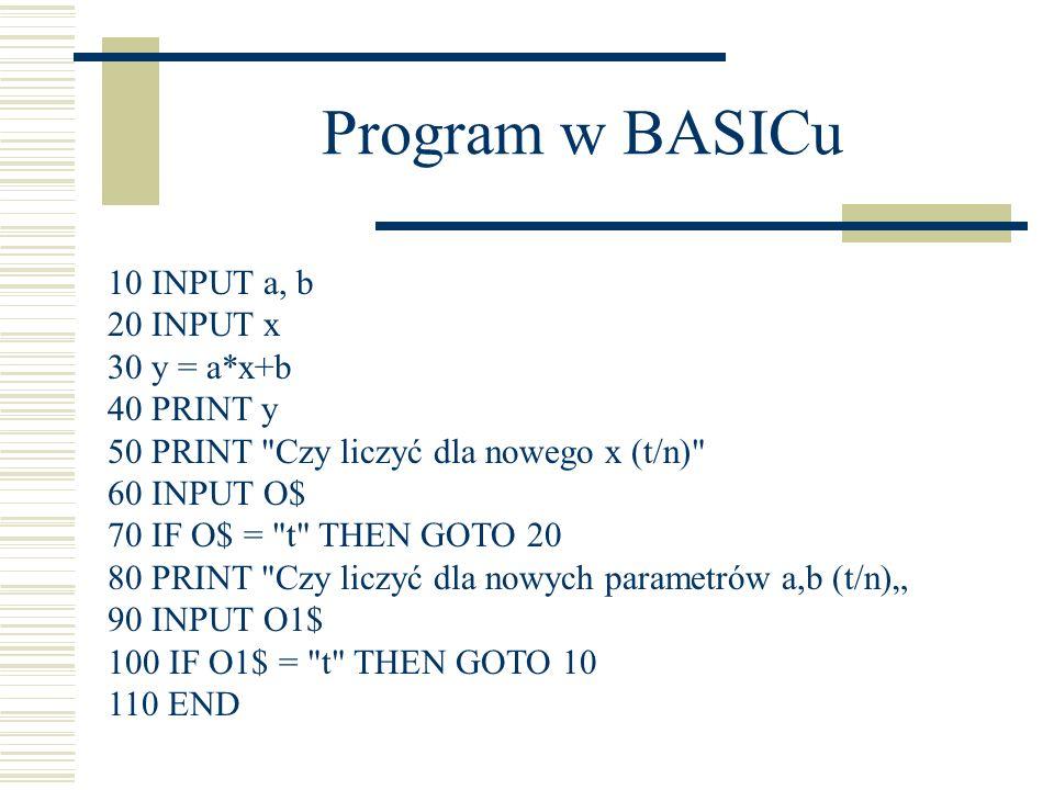 Program w BASICu 10 INPUT a, b 20 INPUT x 30 y = a*x+b 40 PRINT y 50 PRINT