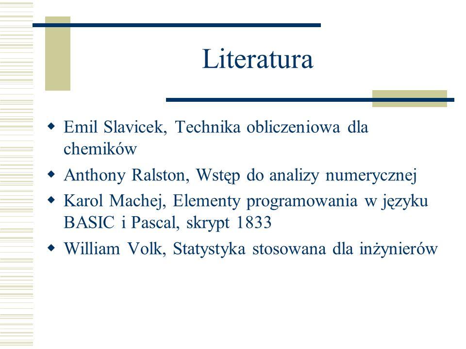 Literatura Emil Slavicek, Technika obliczeniowa dla chemików Anthony Ralston, Wstęp do analizy numerycznej Karol Machej, Elementy programowania w języ