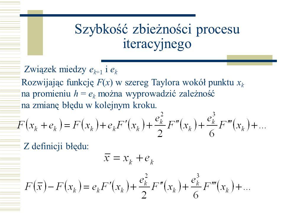 Szybkość zbieżności procesu iteracyjnego Rozwijając funkcję F(x) w szereg Taylora wokół punktu x k na promieniu h = e k można wyprowadzić zależność na