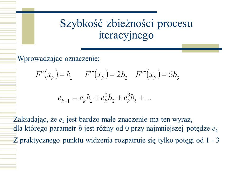 Szybkość zbieżności procesu iteracyjnego Wprowadzając oznaczenie: Zakładając, że e k jest bardzo małe znaczenie ma ten wyraz, dla którego parametr b j