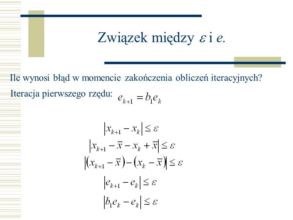 Związek między i e. Ile wynosi błąd w momencie zakończenia obliczeń iteracyjnych? Iteracja pierwszego rzędu: