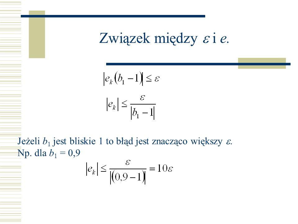 Związek między i e. Jeżeli b 1 jest bliskie 1 to błąd jest znacząco większy. Np. dla b 1 = 0,9