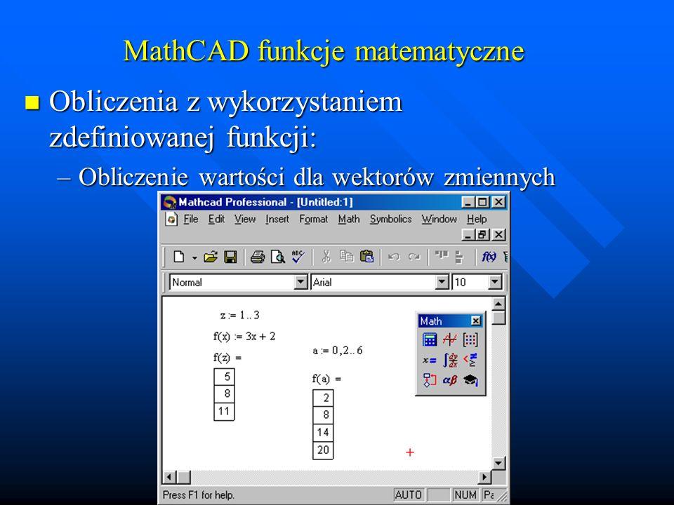 MathCAD funkcje matematyczne Wykresy funkcji: Wykresy funkcji: –Wykres prostej funkcji f(x) klawisze: [f][(][x][)][shift]+[2][x]