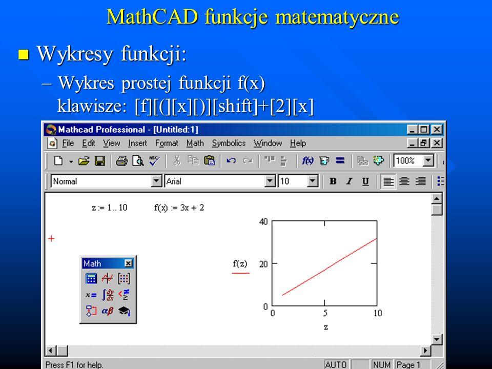 MathCAD funkcje matematyczne Wykresy funkcji: Wykresy funkcji: –Wspólny wykres kilku funkcji: f(x), g(x)@x klawisze: [f][(][x][)][,] [g][(][x][)][shift]+[2][x]