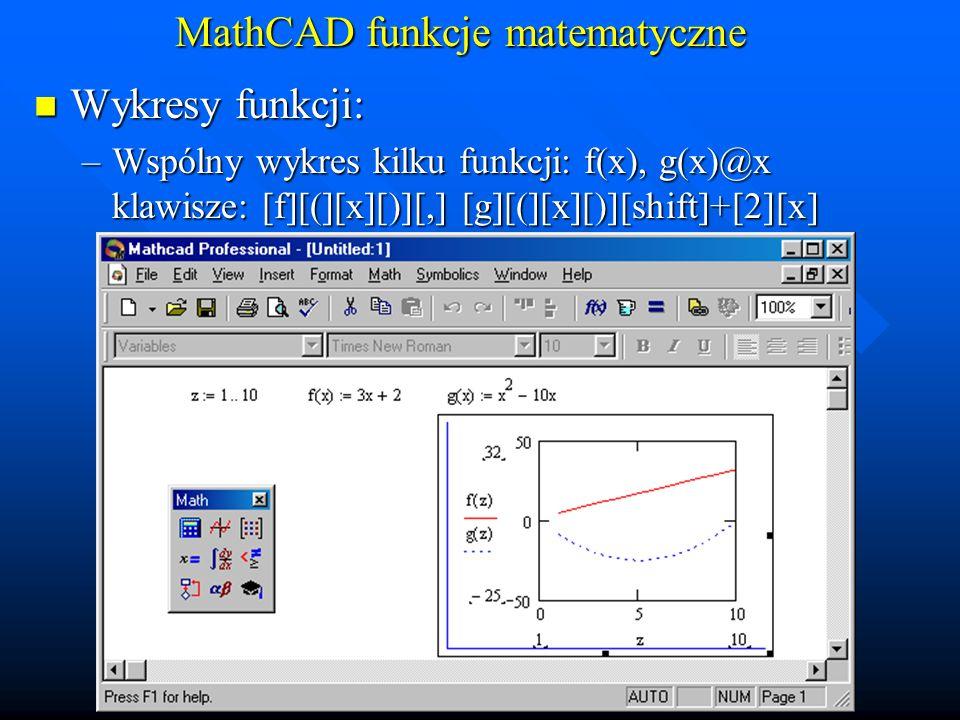 MathCAD funkcje matematyczne Wykresy funkcji: Wykresy funkcji: –Wspólny wykres kilku funkcji w niezależnych przedziałach: f(x), g(y)@x,y klawisze: [f][(][x][)][,] [g][(][y][)][shift]+[2][x][,][y]