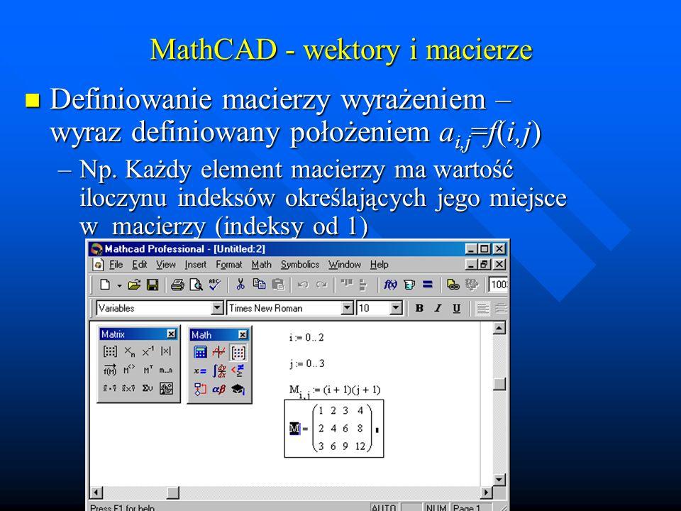 MathCAD rysunki trójwymiarowe: macierzy i funkcji dwóch zmiennych Wykreślenie macierzy: [ctrl]+[2][M] Wykreślenie macierzy: [ctrl]+[2][M] –M – przykładowa nazwa zmiennej macierzowej