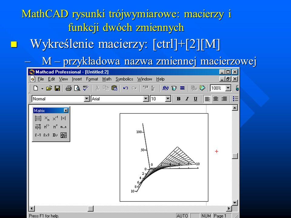 MathCAD rysunki trójwymiarowe: macierzy i funkcji dwóch zmiennych Wykreślenie funkcji dwu zmiennych Wykreślenie funkcji dwu zmiennych 1.Poprzez generację macierzy i wykreślenie macierzy (argumenty funkcji są liczbami całkowitymi – indeksy elementów macierzy) 2.Poprzez przyporządkowanie macierzy siatki utworzonej przez funkcje: CreateMesh(funkcja, dgp1, ggp1, dgp2, ggp2)