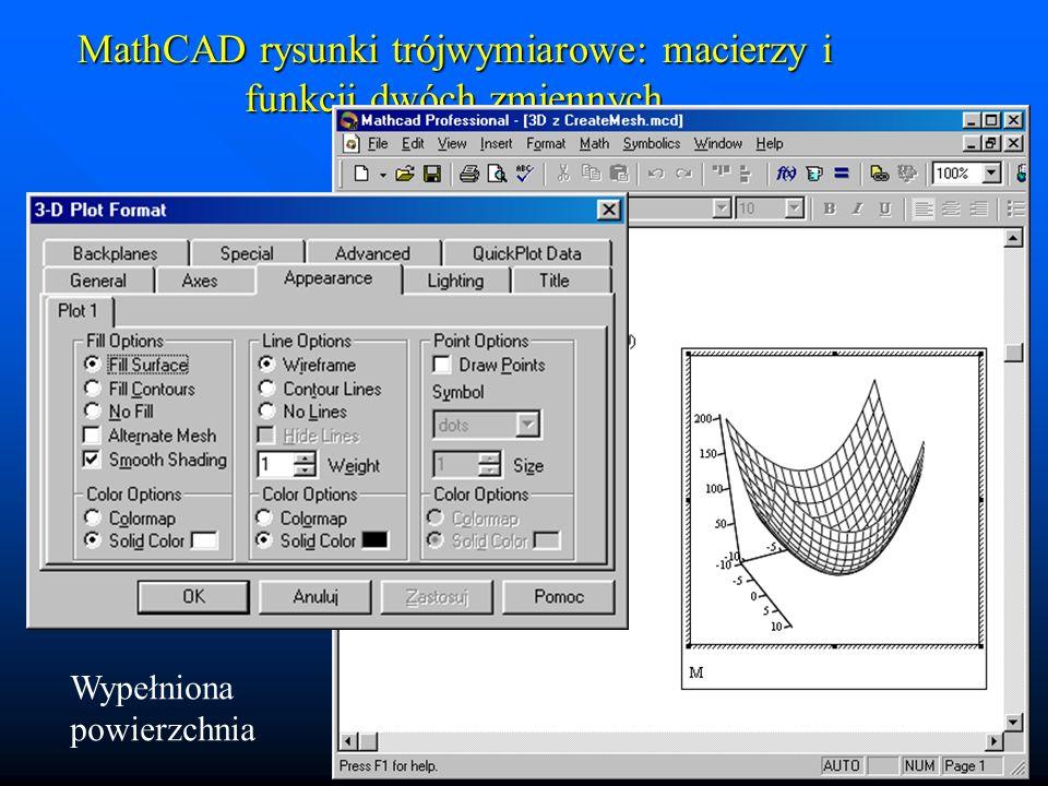 MathCAD rysunki trójwymiarowe: macierzy i funkcji dwóch zmiennych Kontury wypełnione kolorem