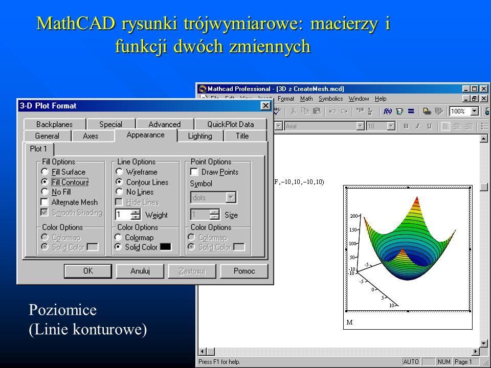MathCAD rysunki trójwymiarowe: macierzy i funkcji dwóch zmiennych Efekt oświetlenia