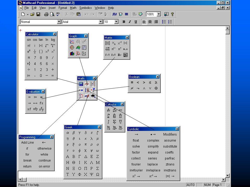 MathCAD wstęp Podstawowe operacje Podstawowe operacje –Wpisywanie: »Tryb normal – zwykły tekst Wymuszenie: [shift]+[ ] Wymuszenie: [shift]+[ ] »Tryb variable – zmienne interpretowane Tryb domyślny Tryb domyślny –Style identyfikujące tryb »Normal – czcionka Arial »Variable – czcionka Times –Znak przypisania := (klawisze [:][=])