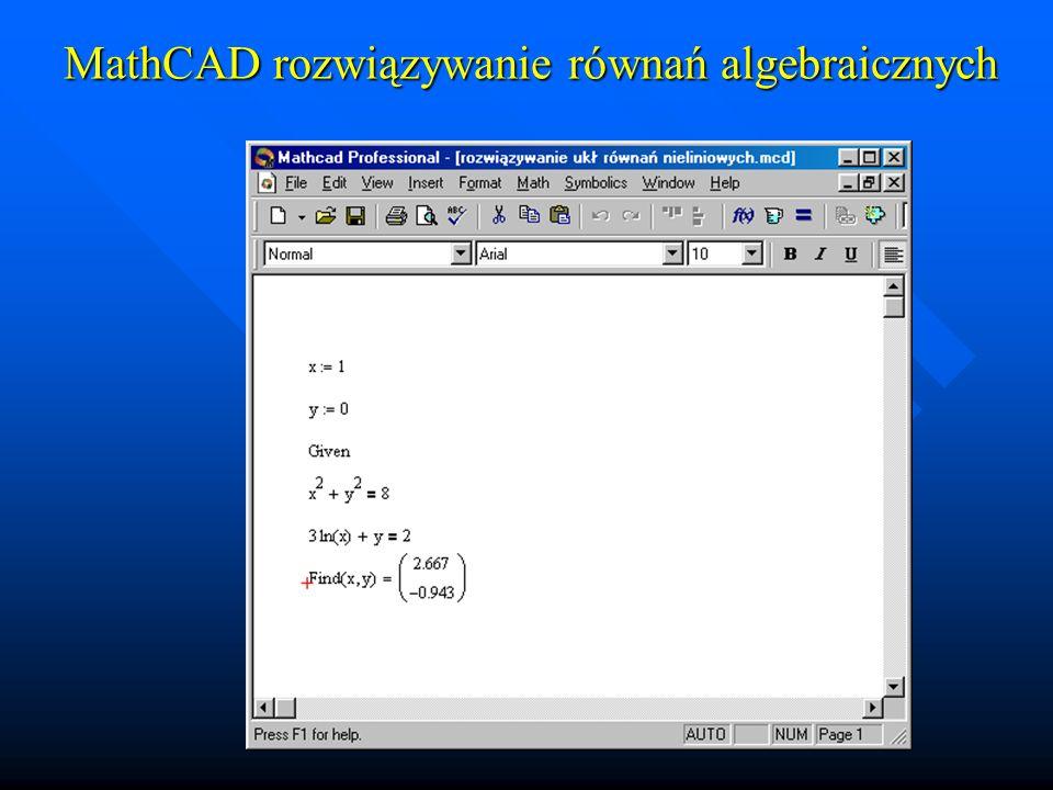 MathCAD równania różniczkowe Pojedyncze równania I-go rzędu Pojedyncze równania I-go rzędu 1.Wpisać warunek początkowy 2.Zdefiniować pochodną (funkcję) 3.Wywołać procedurę całkującą: R:=rkfixed(war_p, dgp, ggp, Ilość_podź, funkcja) z warunkiem początkowym