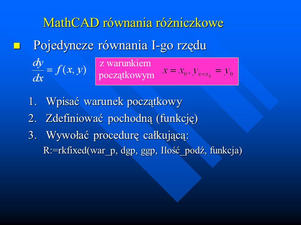 MathCAD równania różniczkowe Pojedyncze równania I-go rzędu Pojedyncze równania I-go rzędu 4.Postać wyniku - macierz: 5.Wynik rozwiązanie w formie wykresu R @R 5.Wynik rozwiązanie w formie wykresu R @R