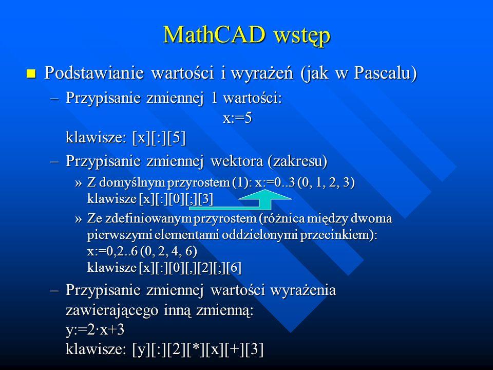 MathCAD wstęp Zapis poprawnyZapis niepoprawny Aby w równaniu mogła wystąpić zmienna musi być wcześniej zdefiniowana