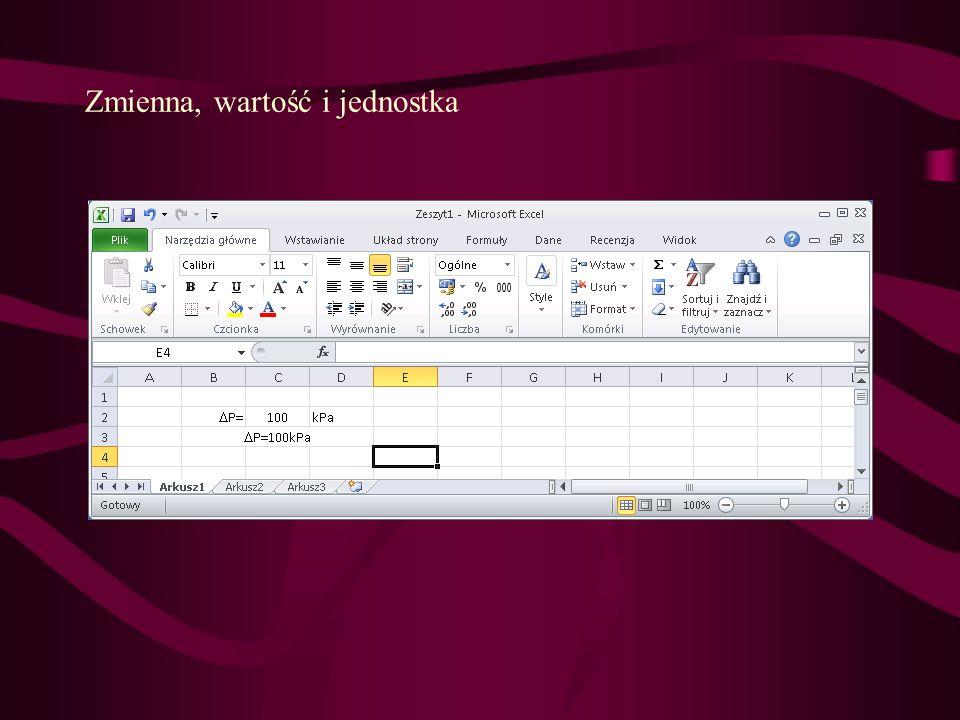 Odwołania w wyrażeniach do komórek w innych zeszytach Zeszyty muszą być otwarte w tej samej sesji Excela!