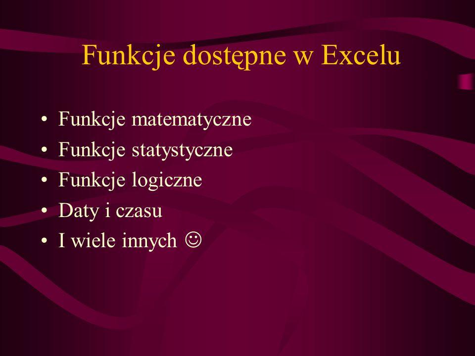 Funkcje dostępne w Excelu Funkcje matematyczne Funkcje statystyczne Funkcje logiczne Daty i czasu I wiele innych