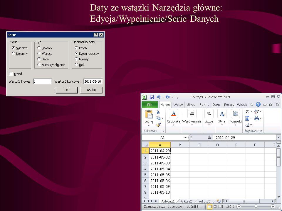 Daty ze wstążki Narzędzia główne: Edycja/Wypełnienie/Serie Danych