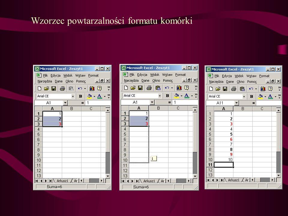 Wzorzec powtarzalności formatu komórki