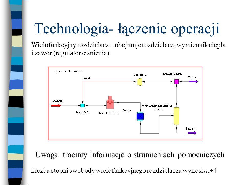 Technologia- łączenie operacji Wielofunkcyjny rozdzielacz – obejmuje rozdzielacz, wymiennik ciepła i zawór (regulator ciśnienia) Uwaga: tracimy inform