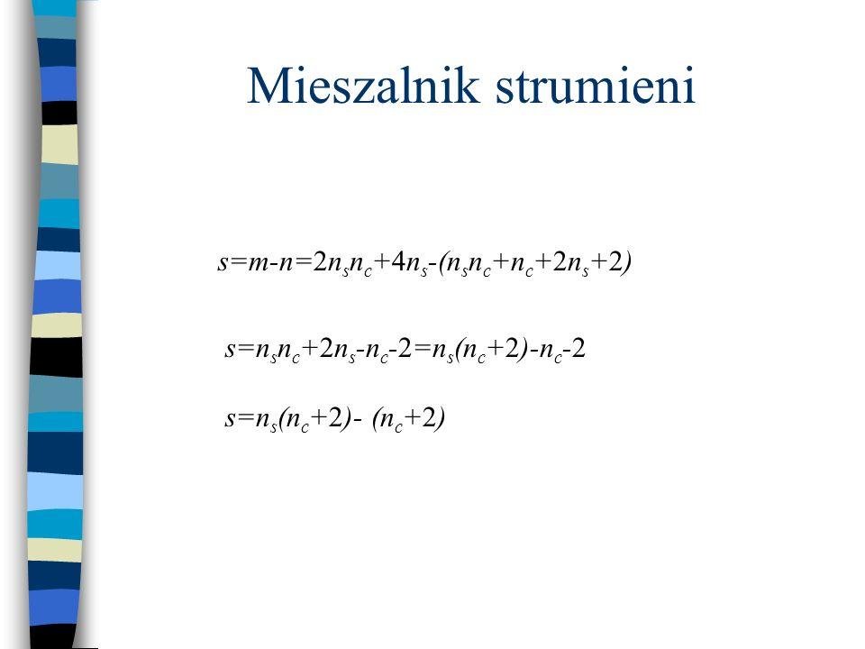 s=m-n=2n s n c +4n s -(n s n c +n c +2n s +2) s=n s n c +2n s -n c -2=n s (n c +2)-n c -2 s=n s (n c +2)- (n c +2) Mieszalnik strumieni