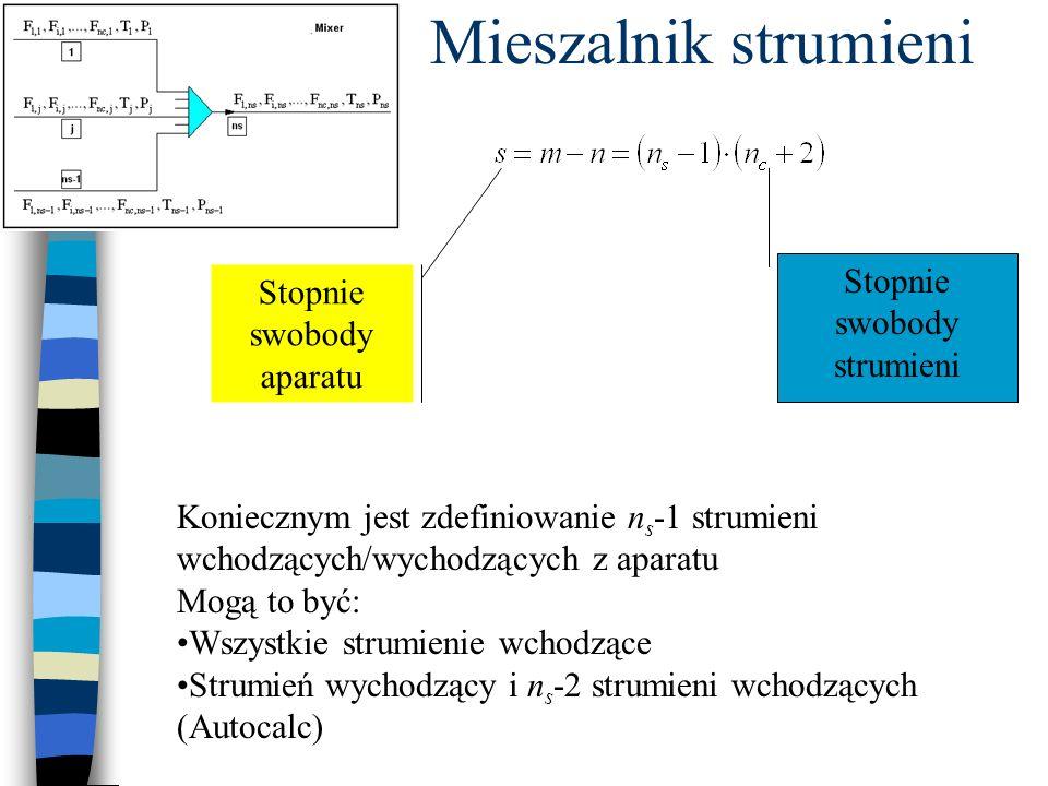 Stopnie swobody strumieni Stopnie swobody aparatu Koniecznym jest zdefiniowanie n s -1 strumieni wchodzących/wychodzących z aparatu Mogą to być: Wszystkie strumienie wchodzące Strumień wychodzący i n s -2 strumieni wchodzących (Autocalc)