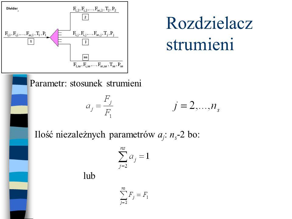 Rozdzielacz strumieni Parametr: stosunek strumieni Ilość niezależnych parametrów a j : n s -2 bo: lub