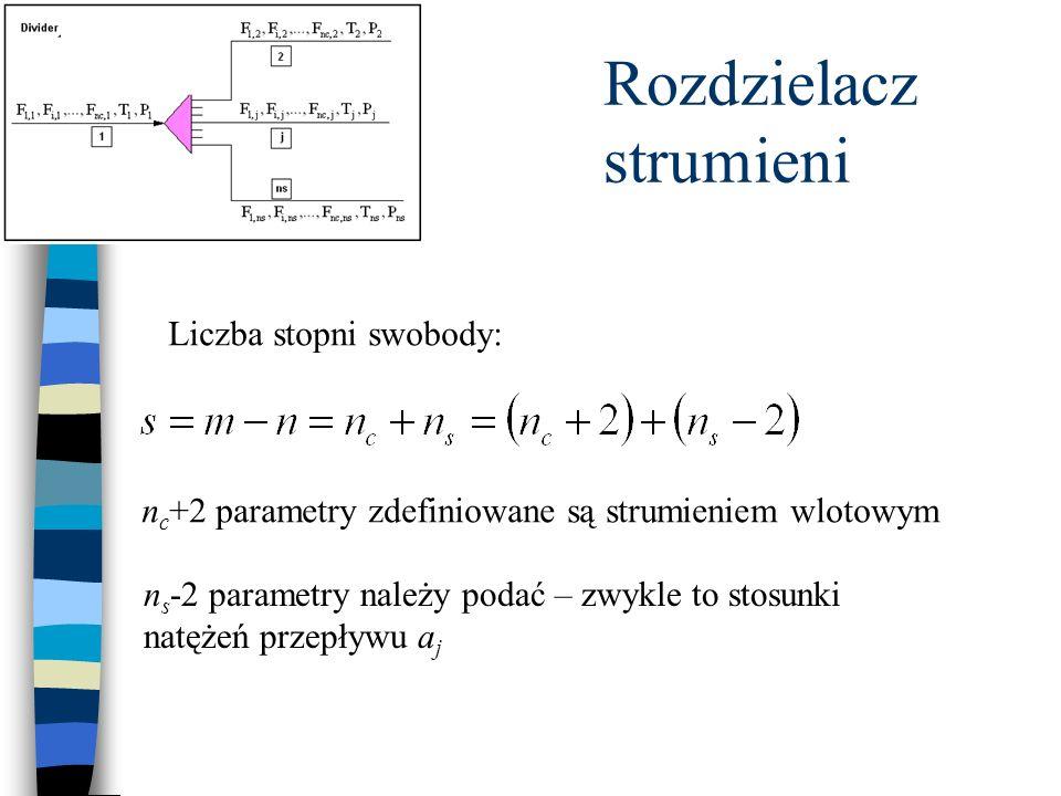 Rozdzielacz strumieni Liczba stopni swobody: n c +2 parametry zdefiniowane są strumieniem wlotowym n s -2 parametry należy podać – zwykle to stosunki natężeń przepływu a j