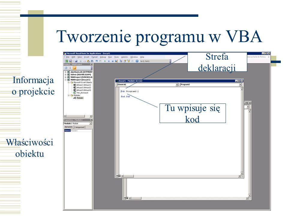 Tworzenie programu w VBA Informacja o projekcie Tu wpisuje się kod Właściwości obiektu Strefa deklaracji