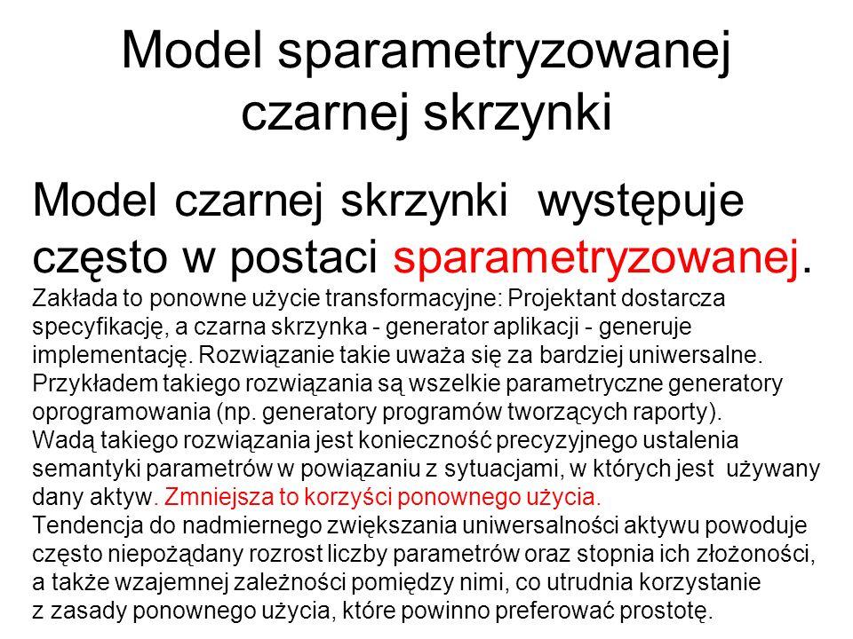 Model sparametryzowanej czarnej skrzynki Model czarnej skrzynki występuje często w postaci sparametryzowanej. Zakłada to ponowne użycie transformacyjn