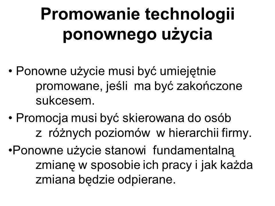 Promowanie technologii ponownego użycia Ponowne użycie musi być umiejętnie promowane, jeśli ma być zakończone sukcesem. Promocja musi być skierowana d