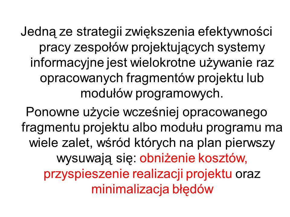 Jedną ze strategii zwiększenia efektywności pracy zespołów projektujących systemy informacyjne jest wielokrotne używanie raz opracowanych fragmentów p