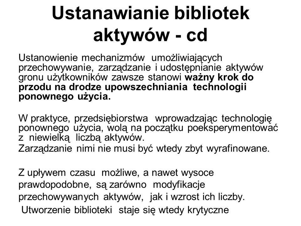 Ustanawianie bibliotek aktywów - cd Ustanowienie mechanizmów umożliwiających przechowywanie, zarządzanie i udostępnianie aktywów gronu użytkowników za