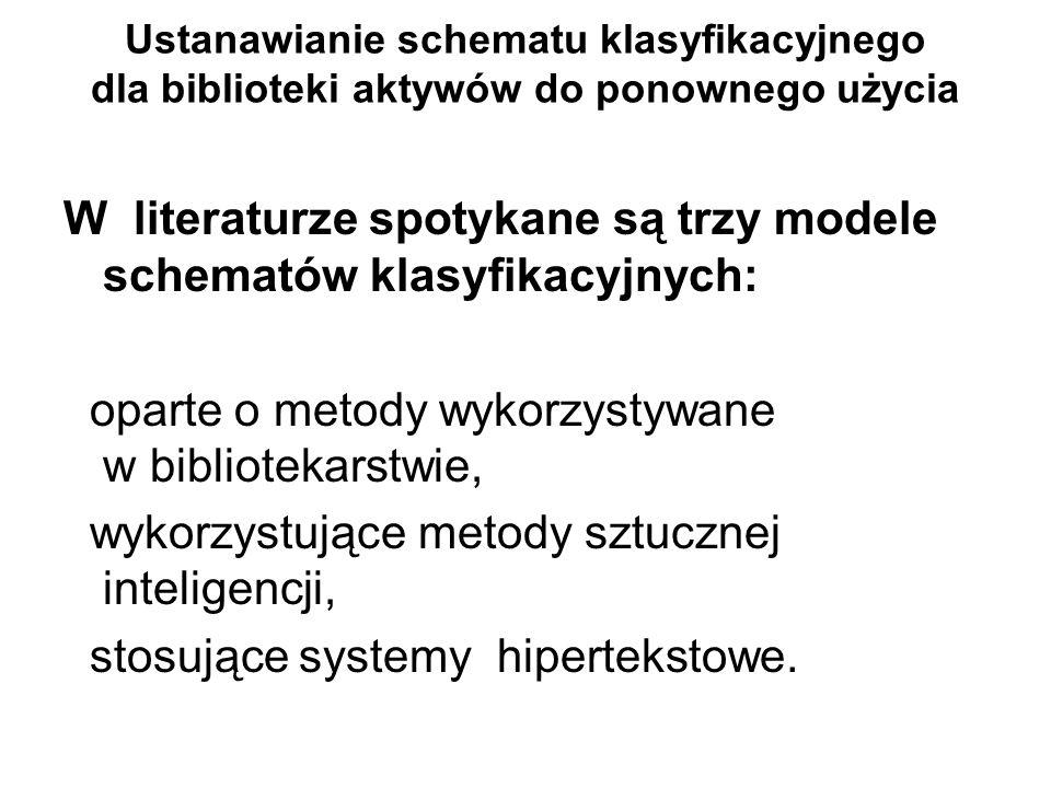 Ustanawianie schematu klasyfikacyjnego dla biblioteki aktywów do ponownego użycia W literaturze spotykane są trzy modele schematów klasyfikacyjnych: o