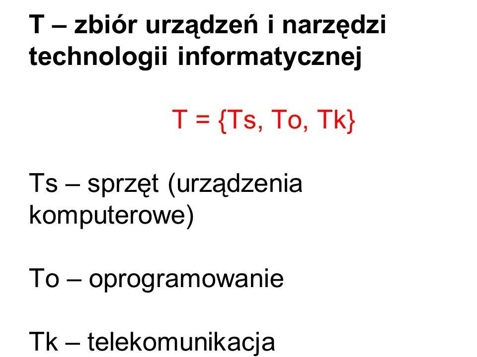 T – zbiór urządzeń i narzędzi technologii informatycznej T = {Ts, To, Tk} Ts – sprzęt (urządzenia komputerowe) To – oprogramowanie Tk – telekomunikacj