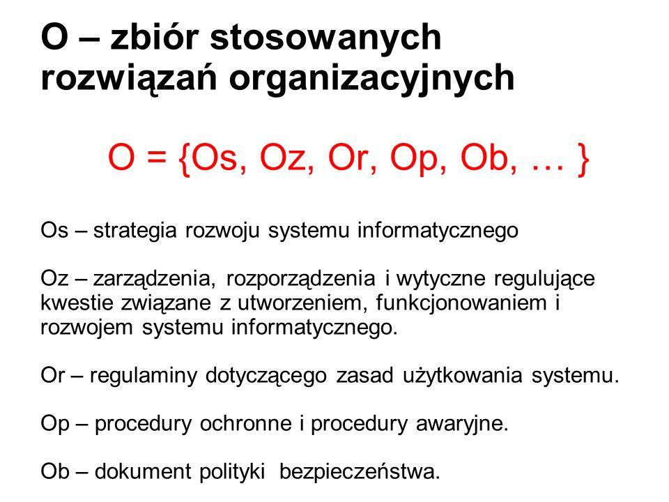 O – zbiór stosowanych rozwiązań organizacyjnych O = {Os, Oz, Or, Op, Ob, … } Os – strategia rozwoju systemu informatycznego Oz – zarządzenia, rozporzą