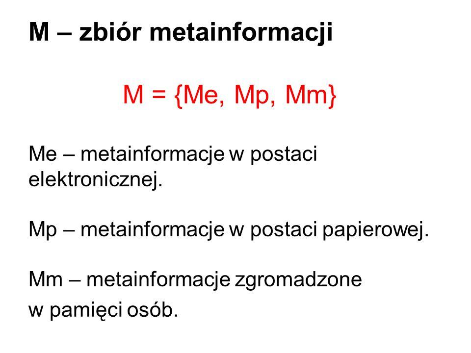 M – zbiór metainformacji M = {Me, Mp, Mm} Me – metainformacje w postaci elektronicznej. Mp – metainformacje w postaci papierowej. Mm – metainformacje