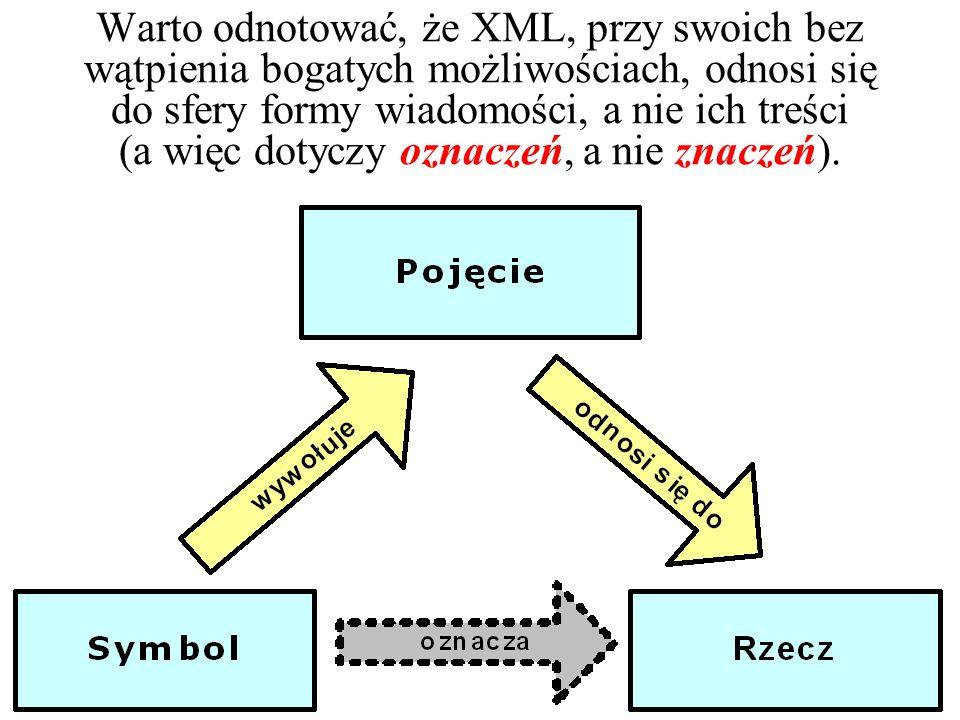 XML odrywa ważną rolę w kontekście całości technologii W3C