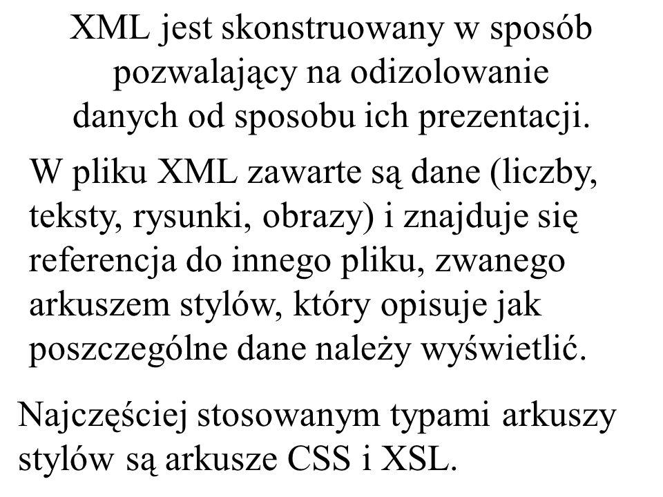 Istotę języka XML można scharakteryzować w następujących punktach: XML jest językiem, czyli służy do przekazywania pewnych treści – NIE jest jednak językiem programowania.