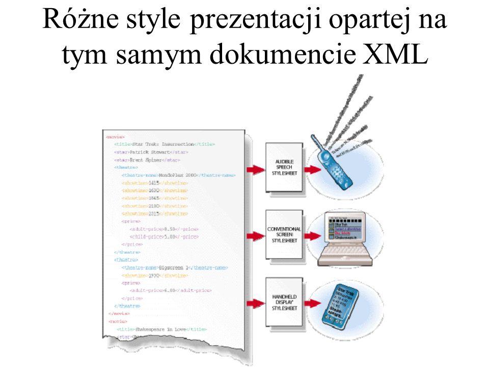 Takie rozwiązanie ma następujące zalety: Plik opisujący sposób prezentacji jest jeden, a może być użyty dla wielu plików z danymi, a więc zmiana sposobu prezentacji danych jest bardzo prosta.