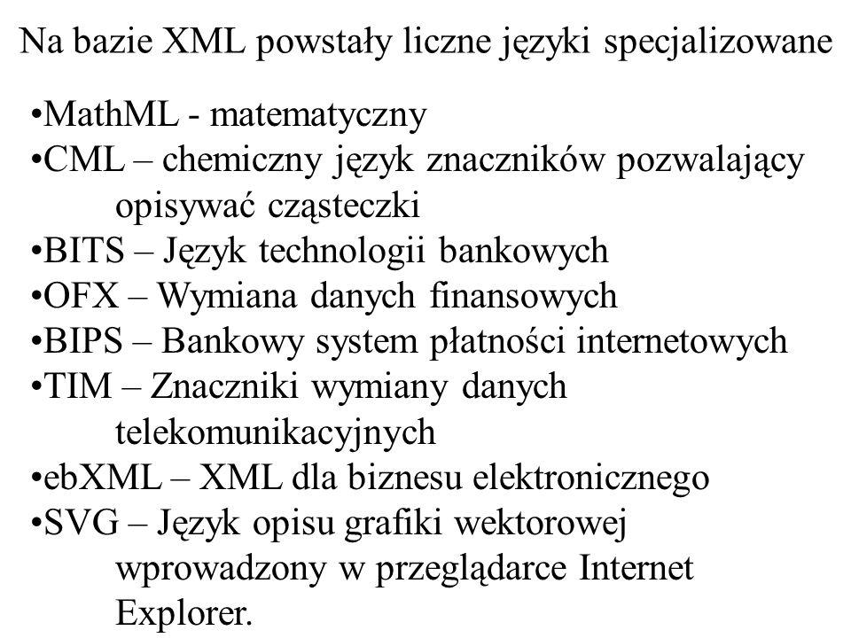 Cykl działania dokumentu XML z punktu widzenia aplikacji