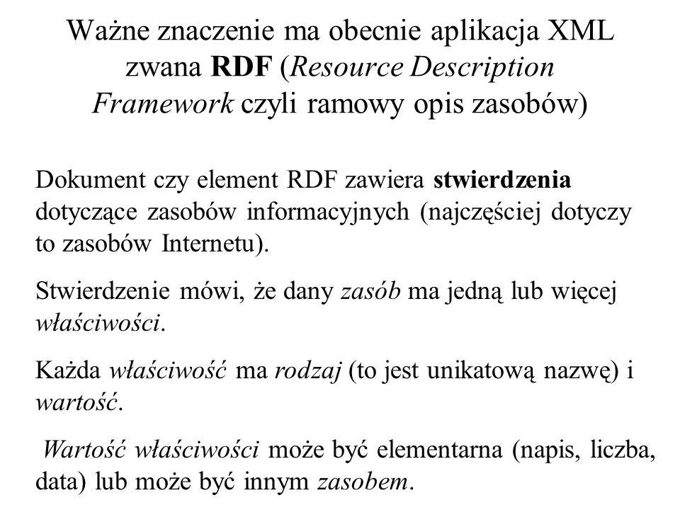 Kolejnym obszarem w którym XML odgrywa znaczącą rolę jest Webcasting W tego typu aplikacjach wykorzysty- wany jest oparty na XML-u język CDF (Channel Definition Format).