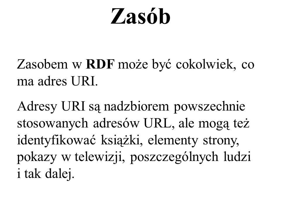 Ważne znaczenie ma obecnie aplikacja XML zwana RDF (Resource Description Framework czyli ramowy opis zasobów) Dokument czy element RDF zawiera stwierdzenia dotyczące zasobów informacyjnych (najczęściej dotyczy to zasobów Internetu).